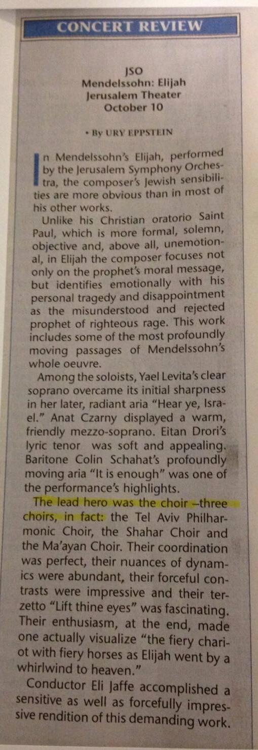 Mendelssohn Elijah Review Jerusalem Post 2017